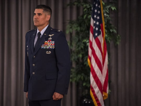 Col. Eric Shafa receives applause during the 42nd Air Base Wing Commander Assumption-of-Command Ceremony on Thursday, Jul. 7, 2016 at Maxwell Air Force Base in Montgomery, Ala.