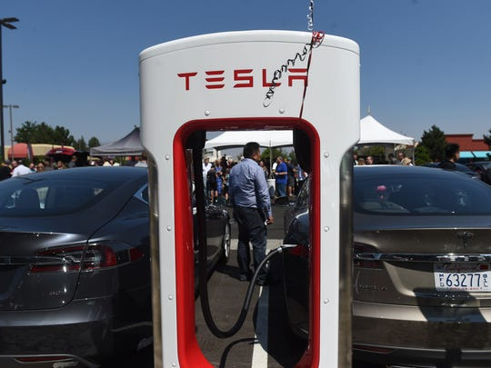 The Atlantis Casino Resort Spa opens their new northeast parking lot and Tesla Supercharger Stations in Reno on July 30, 2016.