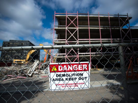 The Collier Street parking garage demolition project is expected to take six weeks to complete.
