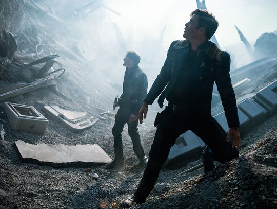 Anton Yelchin (left) and Chris Pine appear in a scene