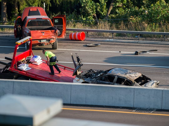 A 10-vehicle pileup on Route 17 in Binghamton on Aug.