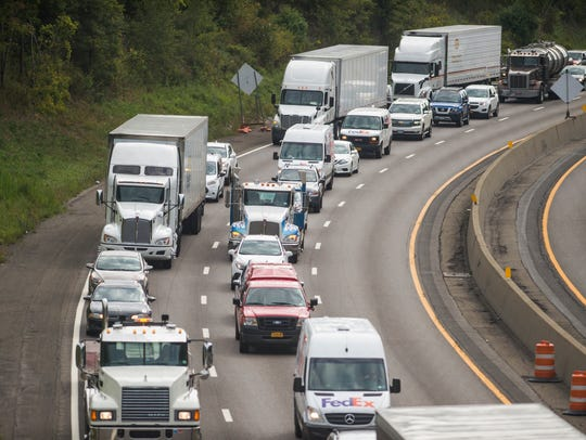 Traffic is backed up along Interstate 81 in Binghamton.