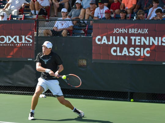 The Louisiana Ragin' Cajuns men's tennis team hosting seven of the top 35 teams in the country in the John Breaux Cajun Tennis Classic at the Culotta Tennis Center. September 23, 2016 (Pictured- Harrison Scott, The University of Texas at Austin)
