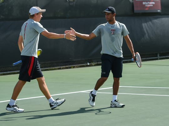 The Louisiana Ragin' Cajuns men's tennis team hosting seven of the top 35 teams in the country in the John Breaux Cajun Tennis Classic at the Culotta Tennis Center. September 23, 2016 (Pictured- Alex Sendegeya and Bjorn Thompson- Texas Tech)