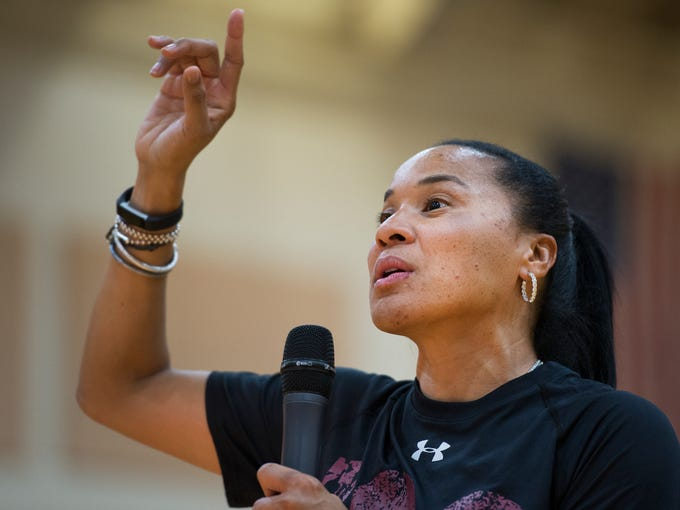 USC women's basketball head coach Dawn Staley answers