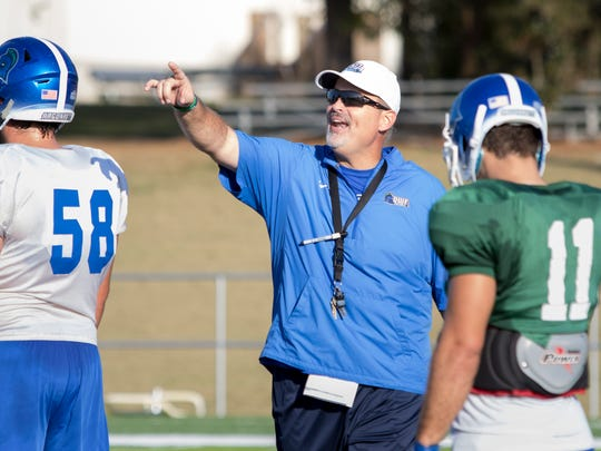 UWF football coach Pete Shinnick has his team point on a fast-track direction