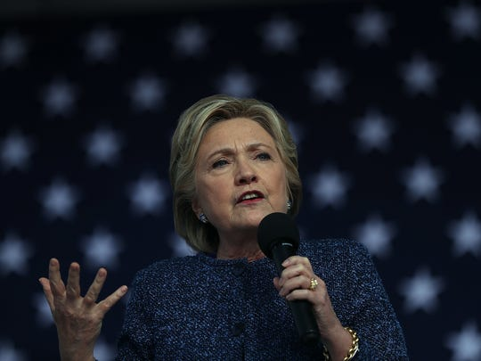 Hillary Clinton speaks during a campaign rally in Cedar