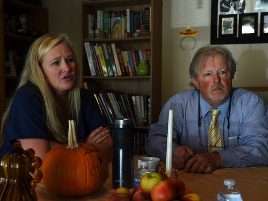 Homeowners Michele McCall, left, and Larry Huddleson talk with the RGJ about the quality of their tap water while meeting in Huddleson's home in Lockwood on Nov. 2, 2016.