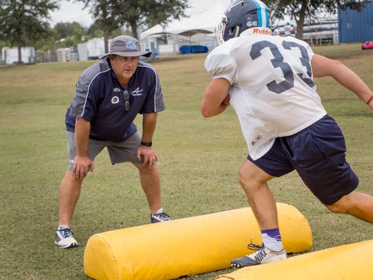 Ascension Episcopal running backs coach Jay Domengeaux