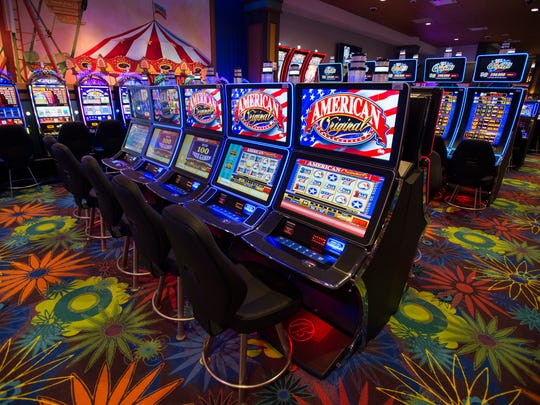 Slot machines on the new gaming floor at Tioga Downs