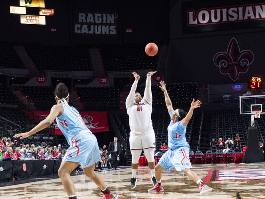 Nekia Jones shoots a three pointer as the Cajuns take on LA Tech at the Cajundome in Lafayette, La., Thursday, Dec. 22, 2016.