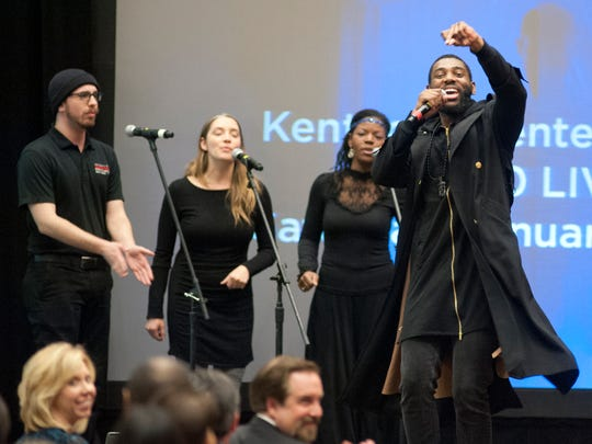 Rapper Jacorey Arthur, right,  performs at the 2017 Fund for the Arts Showcase & Campaign Kickoff.