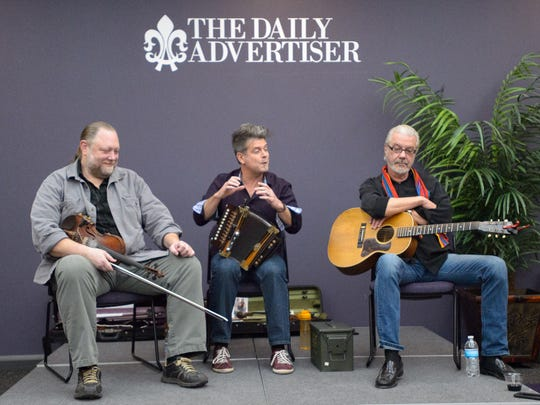 Steve Riley and The Mamou Playboys Trio bring music and stories from their legendary career to Acadiana Roots. Thursday, Jan. 26, 2017. (Pictured-L-R, Kevin Wimmer, Steve Riley and Sam Broussard)