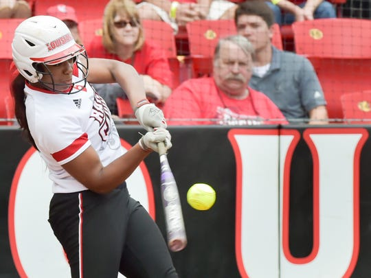 UL's Aleah Craighton takes a hack during the Cajuns'