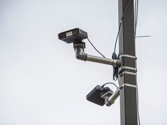 A license plate reader near the entrance of the Broome