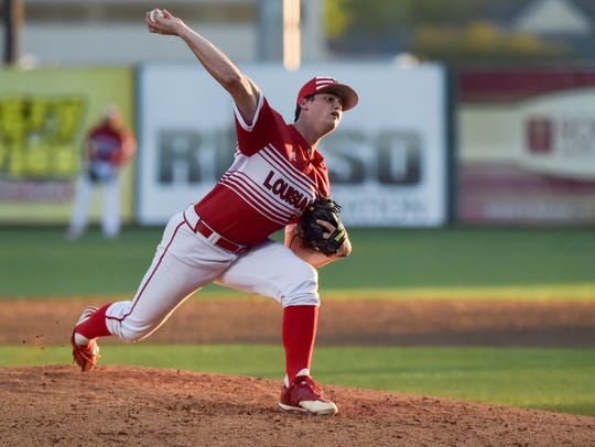 Sophomore Jack Burk, showing throwing here against Houston last season, will be UL's Opening Night starter Friday night at Texas.