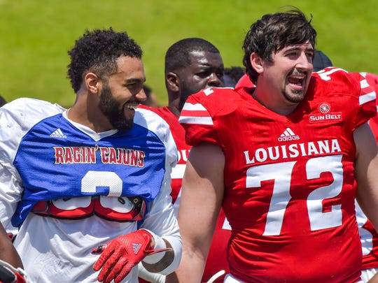 Ragin' Cajuns offensive lineman Grant Horst, 72, will be busy blocking this season for first-year starting quarterback Jordan Davis.