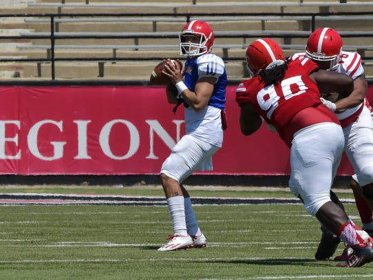 Quarterback Andre Nunez throws a pass during the Ragin' Cajuns' spring football game this year. Nunez has been named as the Cajuns' No. 2 quarterback
