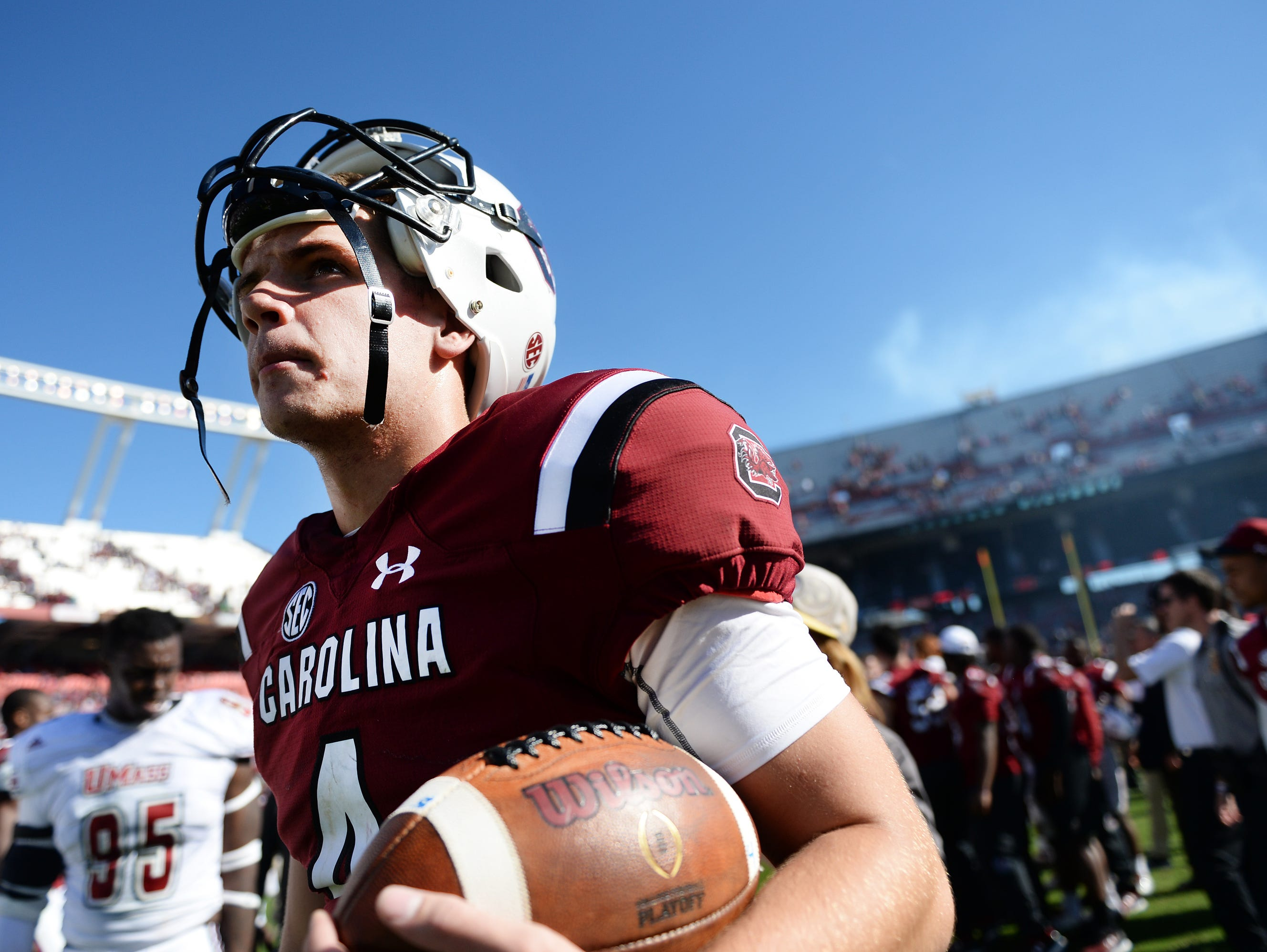 University of South Carolina quarterback Jake Bentley, shown following a game at Williams-Brice Stadium last season, is being looked to for leadership this year.