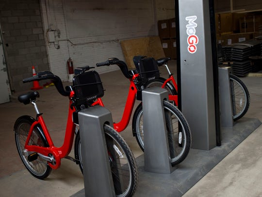 A future MoGo Detroit Bike Share station, seen on Tuesday,