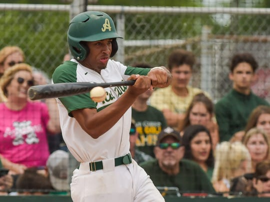 Bralen Trahan at the plate as Acadiana takes on Central Lafouche in baseball playoffs. Tuesday, April 25, 2017.