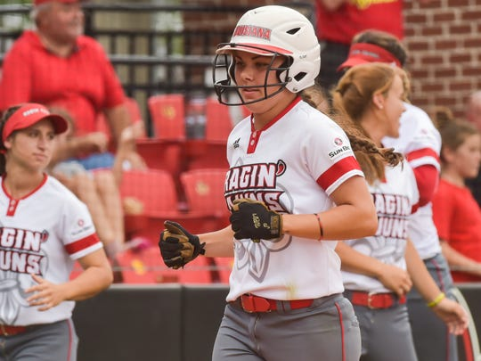 UL's Haley Hayden scores a run during the Cajuns' sweep of Coastal Carolina. Hayden scored four runs Saturday to tie Nerissa Myers' all-time school record of 243 runs scored.
