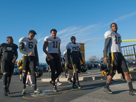 Members of the University of Missouri football team return to practice at Memorial Stadium on Tuesday, Nov. 10, 2015 as the university looked to get things back to normal after racially charged protests led football players to boycott practices.