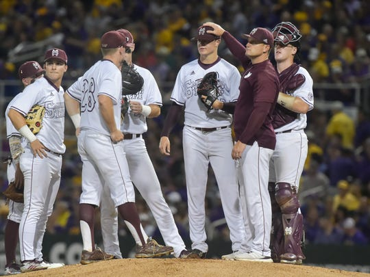 Mississippi State head coach Andy Cannizaro goes to the bullpen in the first inning for game 2 of the NCAA Super Regionals at Alex Box Stadium. - Sunday, June 11, 2017.