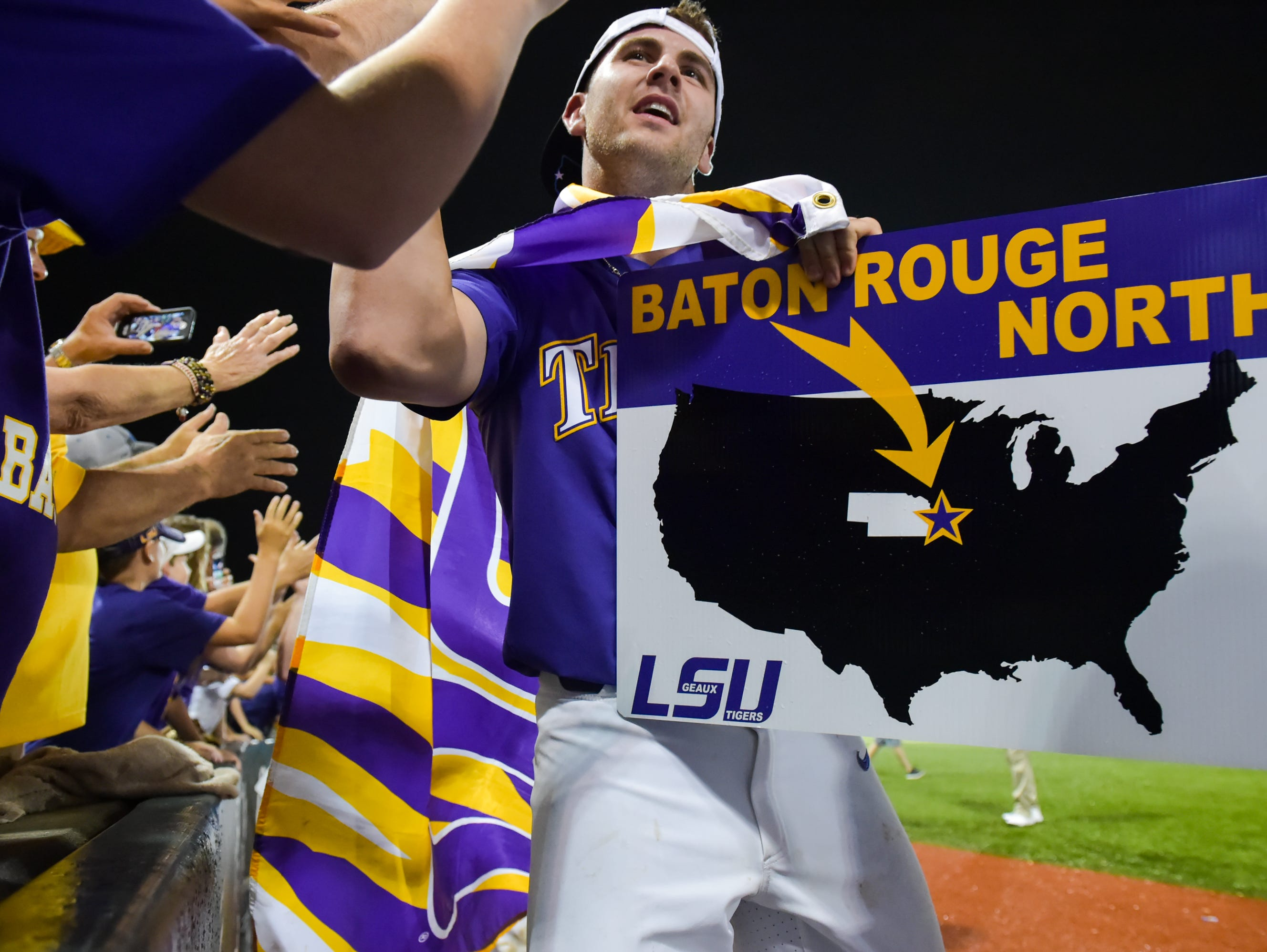LSU beats Mississippi State 14-4 in game 2 of the NCAA Super Regionals at Alex Box Stadium. - Sunday, June 11, 2017.