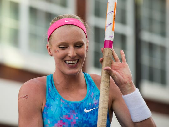 Sandi Morris smiles after clearing the bar during the