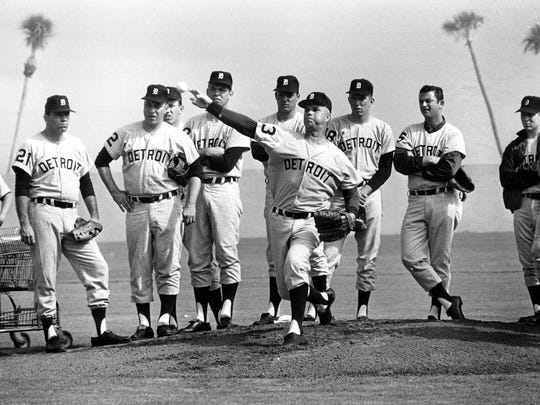 Tigers pitchers work out in Lakeland, Fla., in 1967. The Tigers and Twins finished tied for second in the AL that season, one game behind the Red Sox.