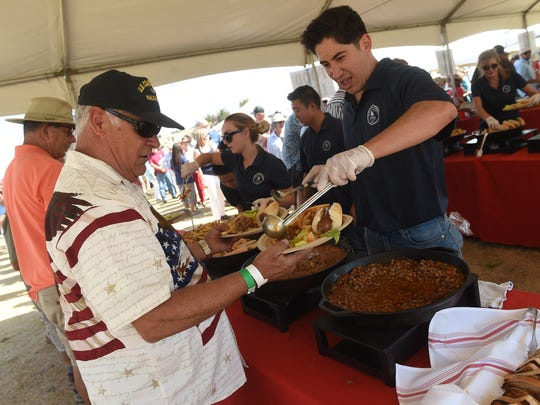The lunch buffet at the annual Basque Fry, shown here in 2016, features fried lamb testicles, a Basque specialty called lamb fries, as well as lamb stew and chorizo. This year's event is Aug. 26, 2017.