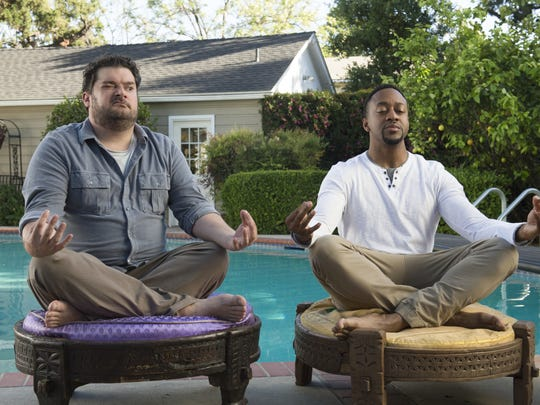 "This image released by CBS shows Bobby Moynihan, left, and Jaleel White in a scene from ""Me, Myself & I,"" premiering Sept. 25 on CBS."