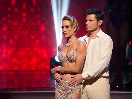 "Nick Lachey and his professional dance partner Peta Murgatroyd on ""Dancing with the Stars."""