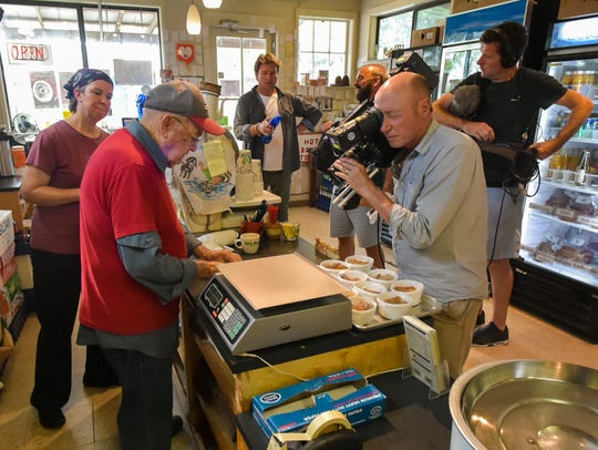 Wallace Johnson during the filming of cooking show