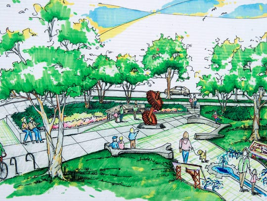 A rendering of the proposed Fort Street Bridge Park