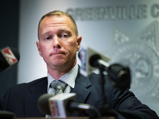 Greenville County Sheriff Will Lewis holds a press conference and admits to having an affair, but denies sexual assault allegations, at the Law Enforcement Center on Thursday, October 19, 2017.
