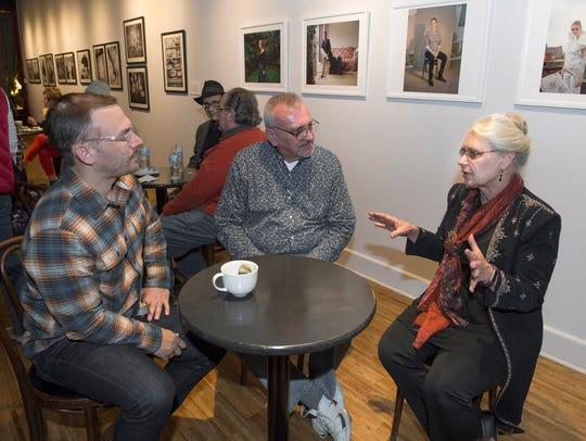 Hamtramck Mayor Karen Majewski, left, talks with Matthew