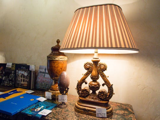 A Maitland Smith lamp, one of a pair that will be up for sale.