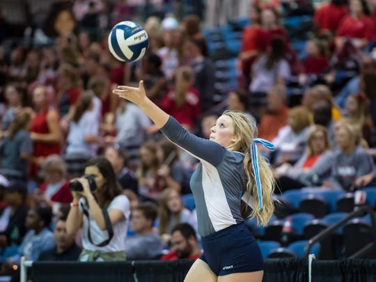 Alaina Hardy serves as Ascension Episcopal takes on St Martins Episcopal during the quarter finals of the  the LHSAA State Volleyball  Tournament at the Ponchartrain Center in Kenner, LA. Thursday, Nov. 9, 2017.