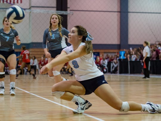 Blue Gators Libero Hannah Mattke makes a pass as Ascension Episcopal takes on St Martins Episcopal during the quarter finals of the  the LHSAA State Volleyball  Tournament at the Ponchartrain Center in Kenner, LA. Thursday, Nov. 9, 2017.
