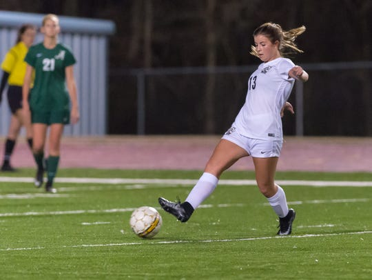 St. Thomas More's Emily LeJeune scored the game's only goal in a 1-0 win over Ben Franklin on Friday's Division I girls quarterfinal game.