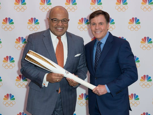 Bob Costas, right, is passing the torch as NBC Olympic prime time host to Mike Tirico starting with the 2018 Winter Games.