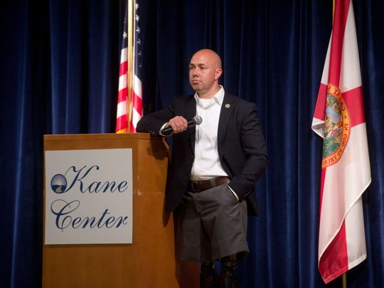 U.S. Rep. Brian Mast hosted a town hall discussion with more than 400 constituents June 5, 2017, at the Kane Center in Stuart, Florida.