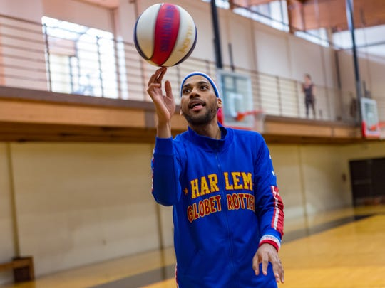 Zeus McClurkin of the Harlem Globetrotters. Friday, Feb. 9, 2018.