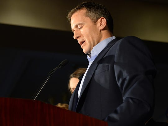 Then-candidate Eric Greitens speaks to a crowd of supporters Aug. 2, 2016, in Chesterfield.