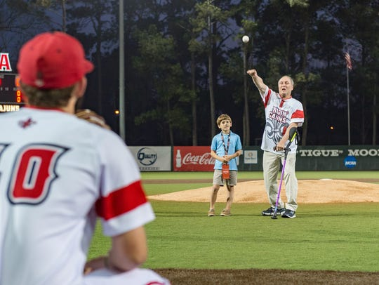 Steve Scalise throws out the first pitch as the Louisiana