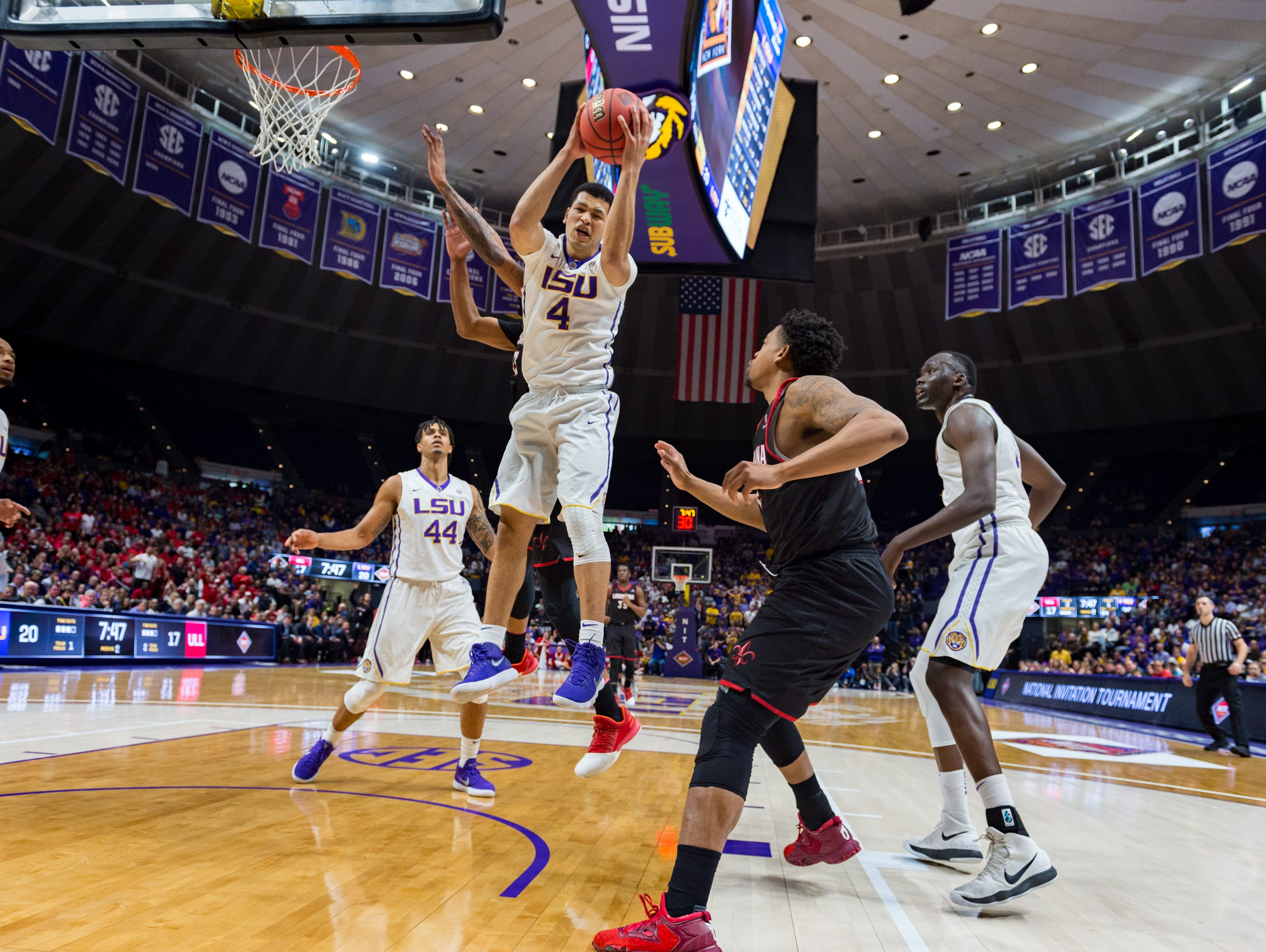 Tiger Skylar Mays pulls in the rebound as the Louisiana Ragin' Cajuns take on the LSU Tigers in the Pete Maravich Assembly Center. Baton Rouge, LA. Wednesday, March 14, 2018.