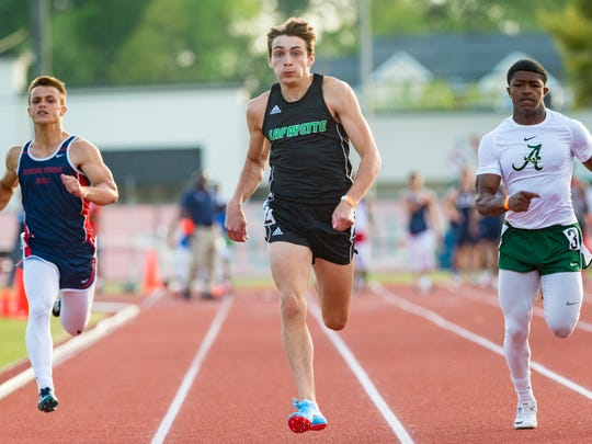 Lafayette High's Armand Duplantis added winning the 100-meter dash to his impressive list of athletic achievements this spring.