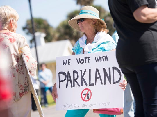 The Sebastian March For Our Lives demanding that children's lives and safety become a priority and that we end gun violence and mass shootings in our schools today, along Indian River Drive on Saturday, March 24, 2018 in Sebastian.